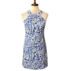 Vince Camuto Blue & White Swirl Pattern Dress